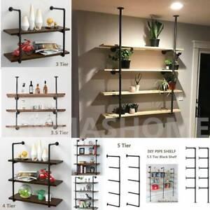 3-4-5-Tier-2PCS-Industrial-Wall-Shelf-Bracket-Hanging-Storage-Shelves-Iron-Pipe