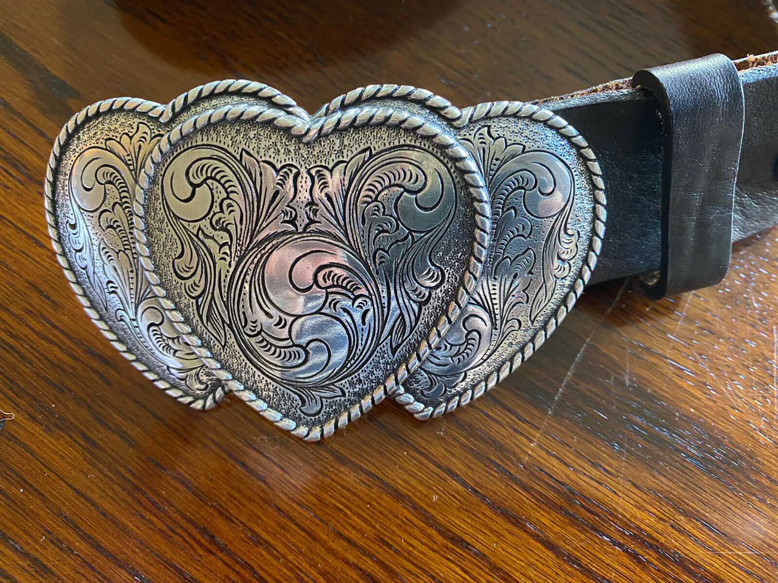 "'Zapita Blue'. Heart Buckle Leather Belt .Adjustable 34"" Stunning Accessory !"
