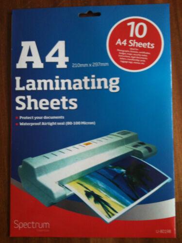 10 x A4 LAMINATING POUCHES LAMINATE SHEETS WATERPROOF MAPS BADGES MENU TAG LEGAL