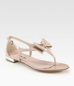 MIU MIU Prada Nude Patent Leather Metal Heel Bow Thong Flat Sandals ... 9f49ab942563