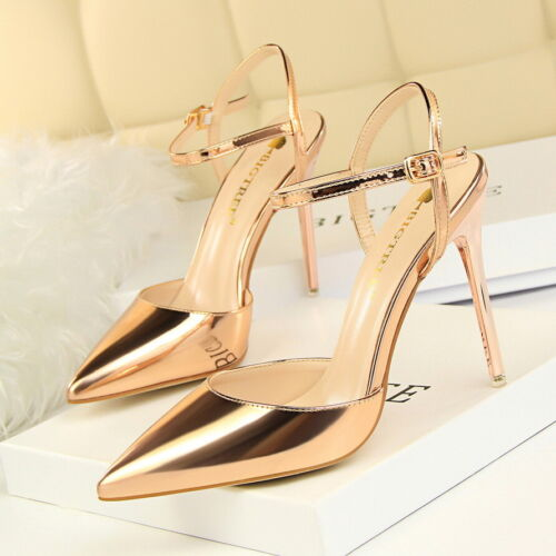 Many Colors Womens Slim Stiletto High Heels Pointed Patent Leather Party Sandals