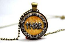Cúpula de vidrio cabujón con colgante cadena Collar Gótico/Steampunk: Viking Runa Thor