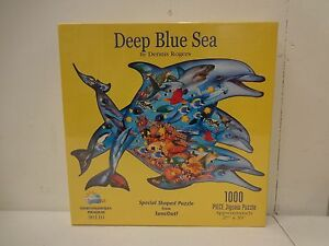 Deep-Blue-Sea-1000-Piece-Shaped-Dolphin-Puzzle-by-Sunsout-27-034-x-39-034-N6