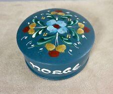 Norway Norwegian Norge Rosemaling Painted Wood Round Trinket Box Folk Art Blue