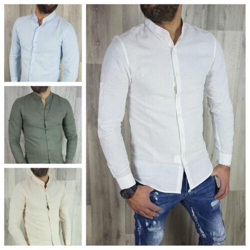 Camicia Uomo Lino Cotone Coreana Slim Fit Manica Lunga Tinta Unita s,m,l,xl,xxl