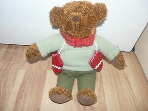 12-034-Hallmark-Brown-Bear-100-years-Anniversary-Born-2002-Teddy-Mittens