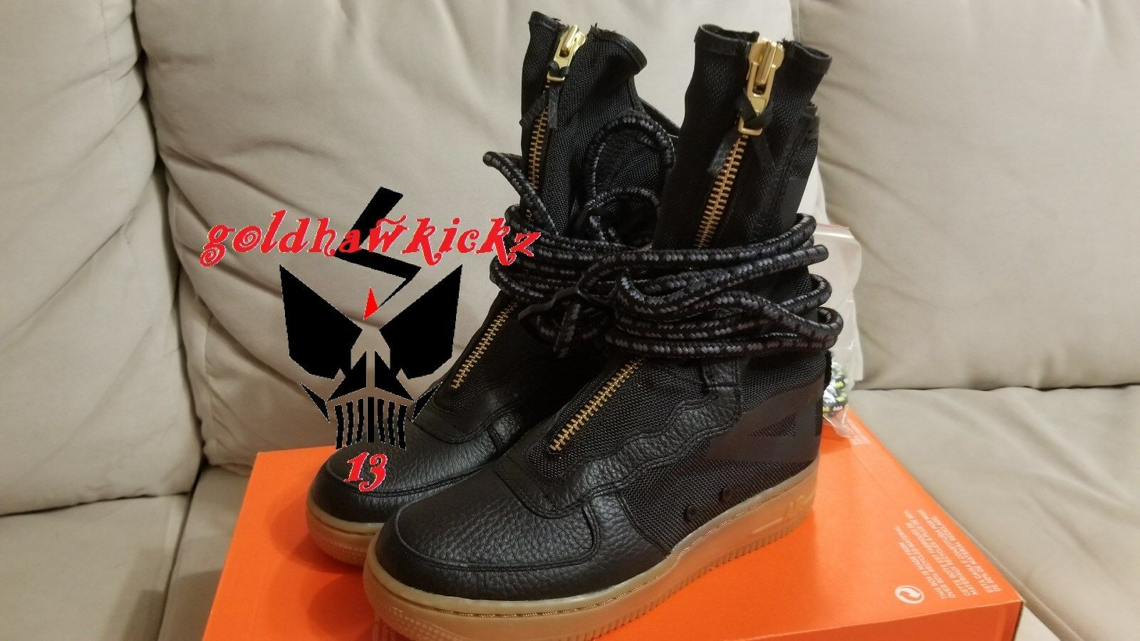 NIKE SF af1 hi black gum air force one SPECIAL FIELD boot nikelab