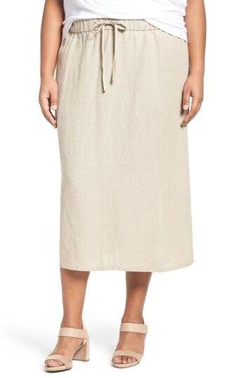 NWT Eileen Fisher Heavy Organic Linen F L Straight Skirt Size 2X MSRP  218