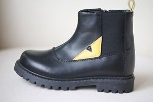 FENDI KIDS LEATHER ZIP-UP BOOTS WITH