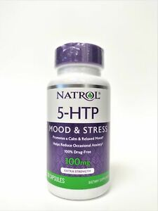 Natrol 5-HTP 100 mg Mood & Stress Dietary Supplement - 30 Capsules Dairy Free
