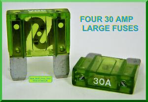FOUR FUSES TOTAL 30-AMP GREEN AUTOMOTIVE // MARINE // RV BLADE-TYPE MAXI FUSE