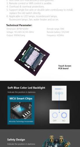 EU//UK Standard Dimmer Light Switch 1 Gang Touch Panel 110V to 240V LED Backlight