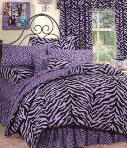 Jungle SAFARI Theme 6 Pc TWIN Comforter Bedding Set Purple Zebra