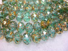 25 8x6mm Aqua w/ gold wash Czech Fire polished Rondelle beads