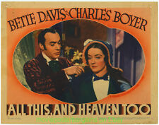 ALL THIS AND HEAVEN TOO Lobby Card 11x14 Inch 1940  BETTE DAVIS CHARLES BOYER