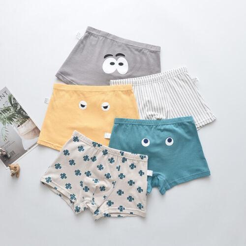 5 Pack Kids Underwear Cartoon Cute Eyes Boys Underwear Cotton Boxer Briefs 4-14Y