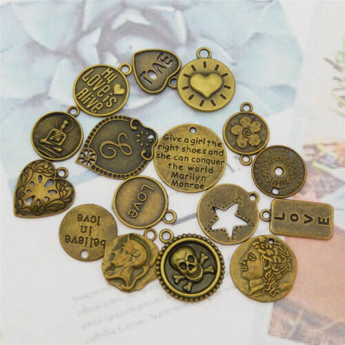 Pack of 10 Vintage Alloy Charms Engraved Tags Mixed Pendant Findings DIY Crafts