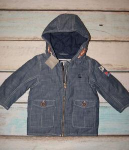 85186f8d6c7 Next BNWT Baby Boys Slightly Padded Hooded Denim Look Jacket Size 9 ...