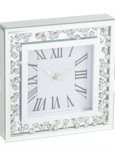 Silver Square Floating Crystal Clock 20cm Rose Gold Panel Mantel Time Ornament