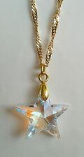 Kristall Schmuck Kette in Gold mit Swarovski Stern Star Crystal AB vergoldet