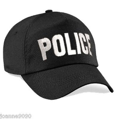 Adult Mens Black Embroidered Police Baseball Cap Swat Fancy Dress Costume Hat