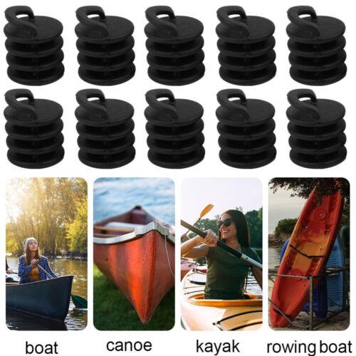 10Pcs//Set  Black Kayak Boat Scupper Plugs Ocean Canoe Bungs Drain Holes Stoppers
