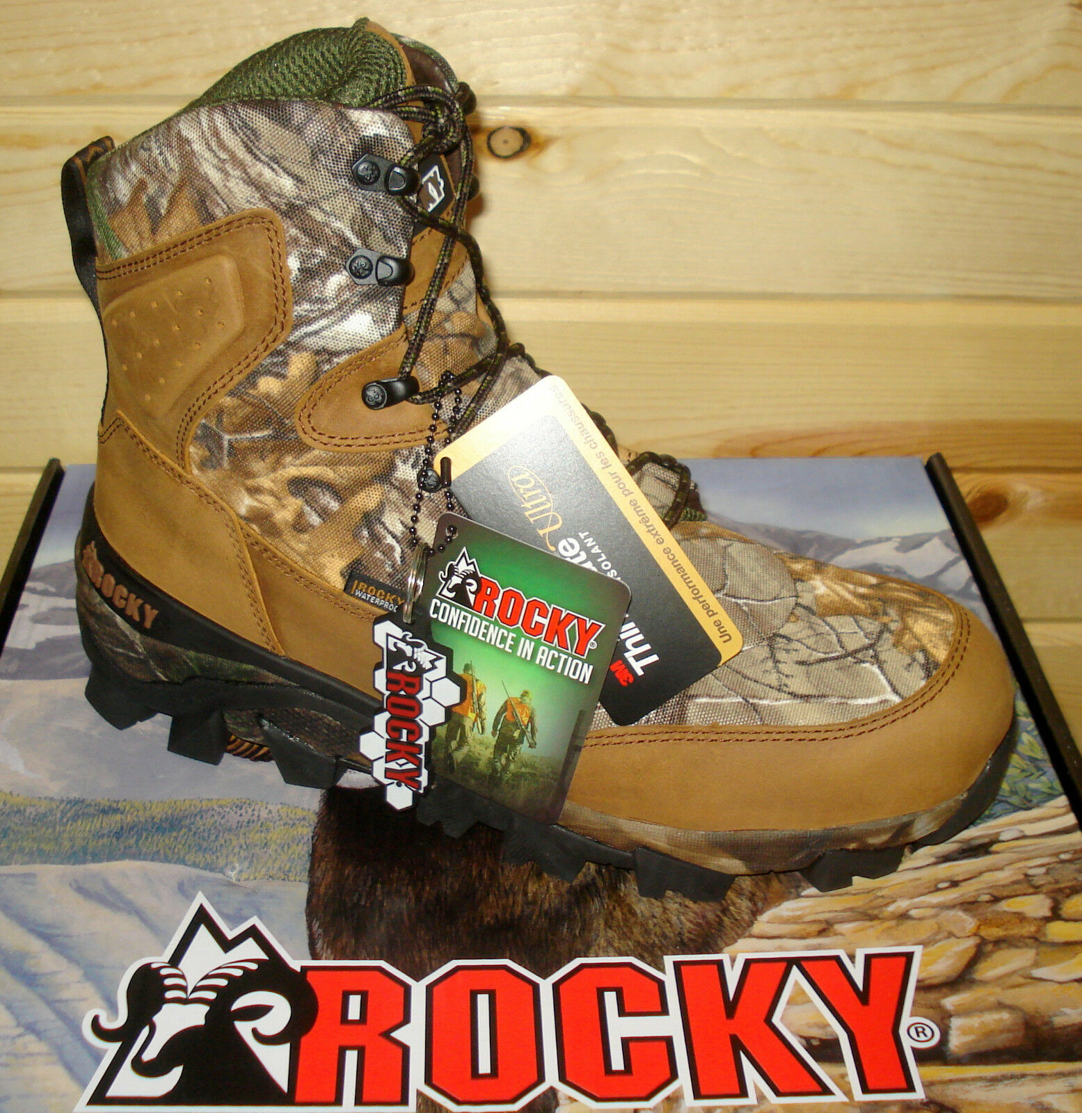 9.5 M herren ROCKY CLAW RKS0324 Waterproof 800G Insulated Outdoor Hunting Stiefel