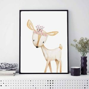 Image Is Loading Cute Deer Animal Canvas Painting Kid 039 S