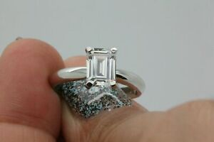 2.00 Ct Emerald Moissanite Engagement Ring 14K Bridal Solid White Gold Size 4 5