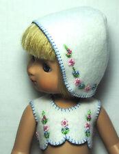"Boneka Filzoberteil und Haube 25 cm Puppen / Felttop and Bonnet 25 / 10"" dolls"
