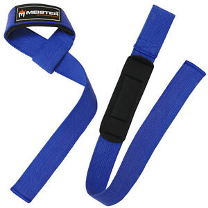 BLUE-NEOPRENE-PADDED-WEIGHT-LIFTING-STRAPS-Wrist-Bar-Wraps-MEISTER-NO-SLIP-PAIR