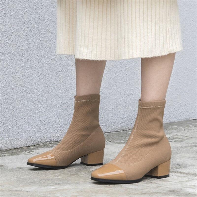 Dedo del pie cuadrado para mujer de de de moda botas de Calcetín grueso talón Charol al tobillo Botines  suministramos lo mejor
