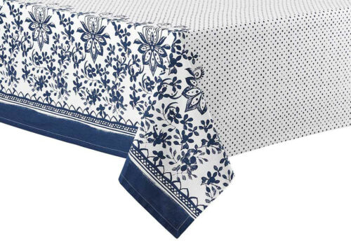 Watercolour Floral Navy TableclothLadelle100/% AZO free dyes100/% Cotton