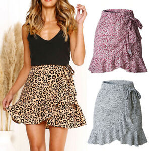 Women-Leopard-Print-Ruffle-Short-Skirt-Summer-Polyester-Party-Wrap-Mini-Dresses