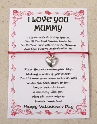FIRST VALENTINE'S DAY AS MUMMY WISH KEY CHARM GIFT CARD VARIOUS OPTIONS PRESENT