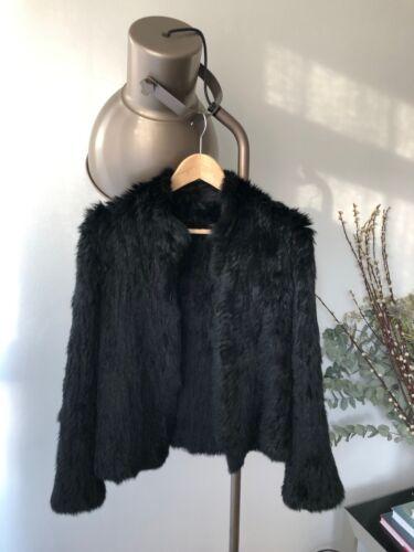 10 Manteau de en fourrure noir taille lapin tricoté U0PUErwq