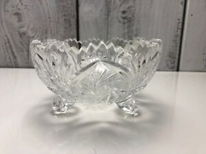 Vtg-Brilliant-Cut-Crystal-Glass-Bowl-Relish-Oblong-Dish-Sawtooth-Good-Condition