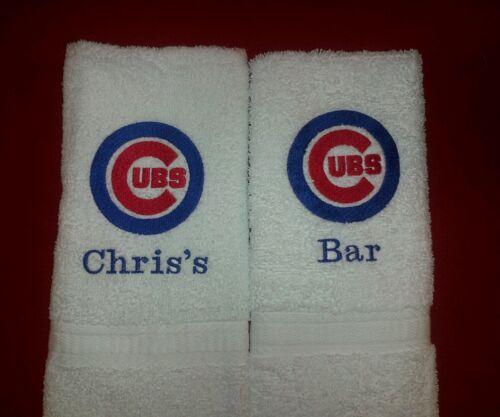 CHICAGO CUBS BASEBALL MLB GYM OR BATH HAND TOWEL SET PERSONALIZE
