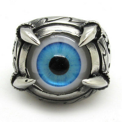 Men's 316L Stainless Steel Dragon Claw Shining eyes Blue Eyes Silver Ring
