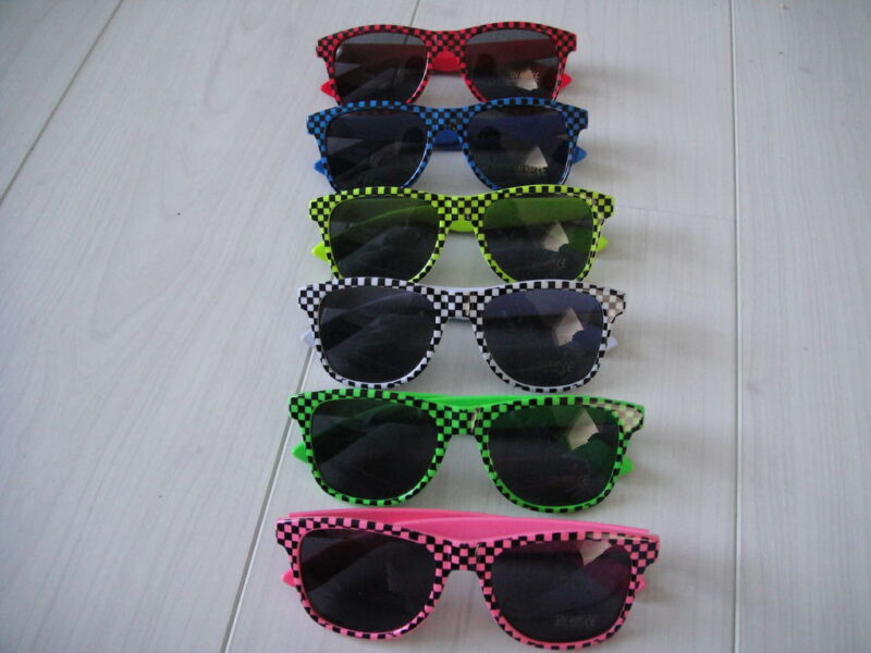 6 Colours Pink White Cool Retro Style 80's Sunglasses