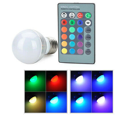 16 Colors Change 3W E27 LED RGB Light Bulb Lamp AC 85-265V+Remote Control MLY