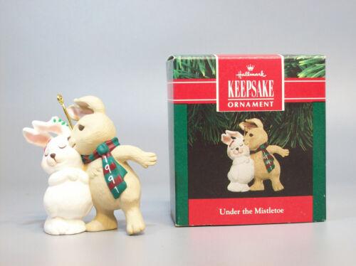 Hallmark Keepsake Ornament 1991 Under the Mistletoe #QX4949 Bunny Rabbits