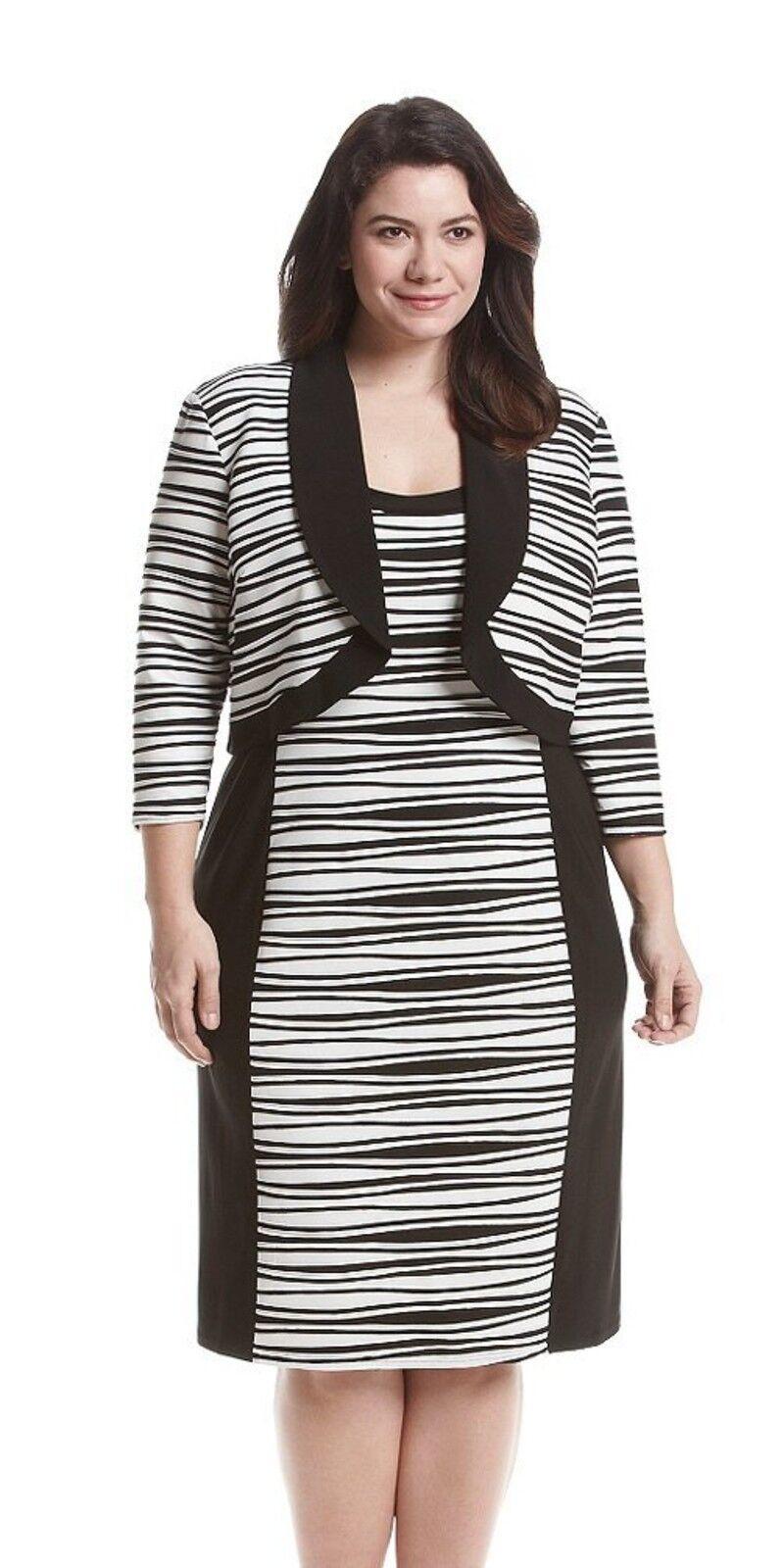 damen R&M Richards Bolero Sheath Dress Plus Größe 14W schwarz Weiß Wavy Striped