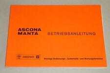 Betriebsanleitung Handbuch Opel Ascona A / Manta A V- 81 Stand 10/1975