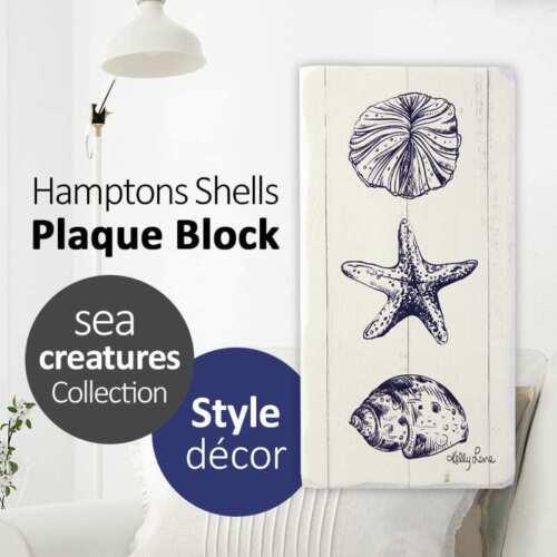 20x10CM Hamptons SHELLS Plaque Block