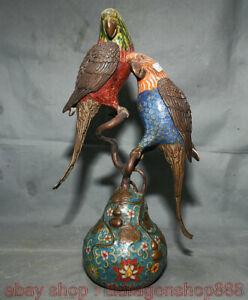 14-034-Chine-Cloisonne-Emaux-Bronze-2-perroquet-Gourde-Bruleur-D-039-encens-Statue