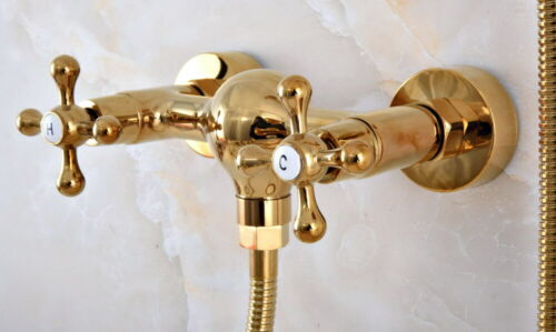 Luxury Gold Brass Bathroom Wall Mounted Hand Held Shower Head Shower Faucet Sets