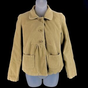 Garnet-Hill-Womens-Corduroy-Babydoll-Jacket-2-Tan-Pockets-Long-Sleeve-Peplum