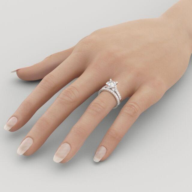 1.25 CT D/VS2 Wedding Princess Cut Diamond Engagement Ring Set 18K White Gold