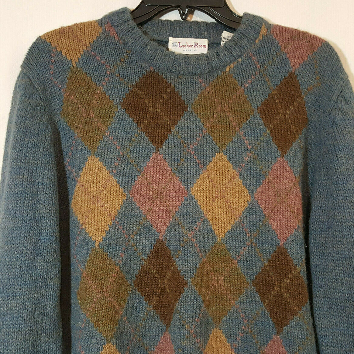 Vintage Alpaca Sweater bluee Brown Pink Argyle Sz L